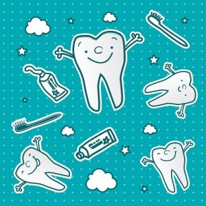 Happy teeth cartoon along with toothbrushes and toothpastes vector wallpaper which is dental health for children under preventative dentistry by eDental Perth.