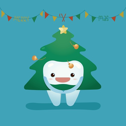 Animated tooth on a Christmas tree that represents the