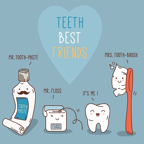Animated toothpaste, dental floss, tooth, and a toothbrush that represents the