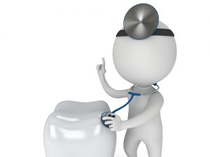 Animated doctor with a stethoscope examining a tooth, and as the header image of