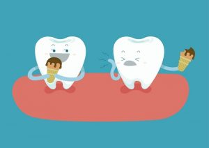 2 Animated teeth and each are holding an ice cream and as the header image of